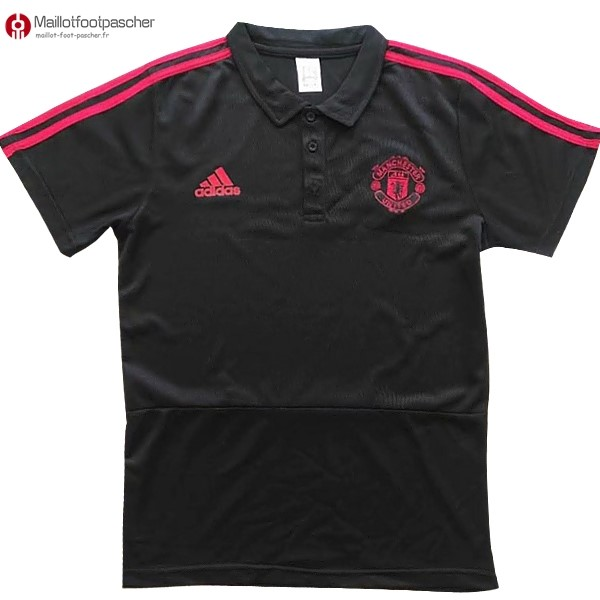 Polo Foot Pas Cher Manchester United 2017/2018 Noir Marine Rouge