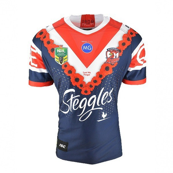 Maillot Rugby Pas Cher Sydney Roosters Anzac 2018 Bleu