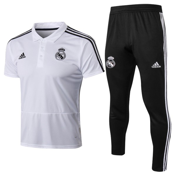 Polo Foot Pas Cher Real Madrid Ensemble Complet 2018/2019 Blanc