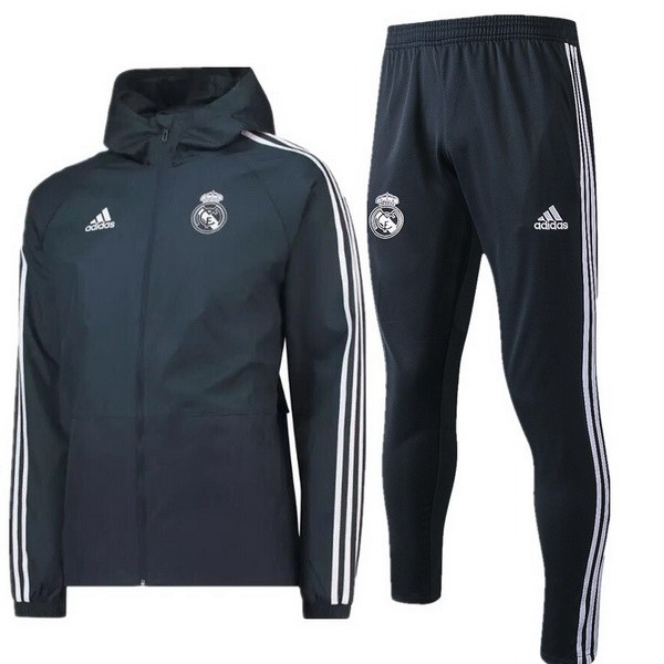 Coupe Vent Foot Pas Cher Real Madrid Ensemble Complet 2018/2019 Gris Marine