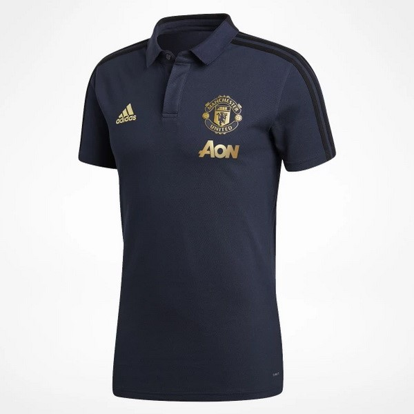 Polo Foot Pas Cher Manchester United 2018/2019 Bleu