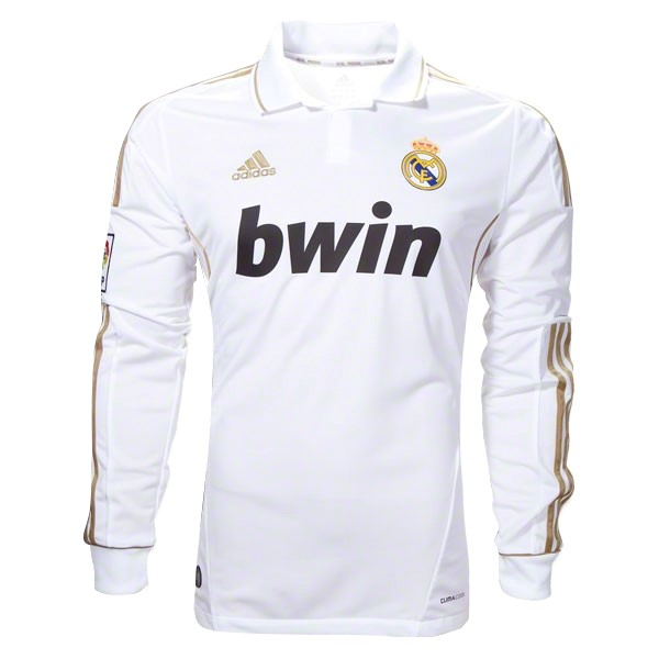 Maillot Foot Pas Cher Real Madrid Domicile ML Retro 11 12 Blanc