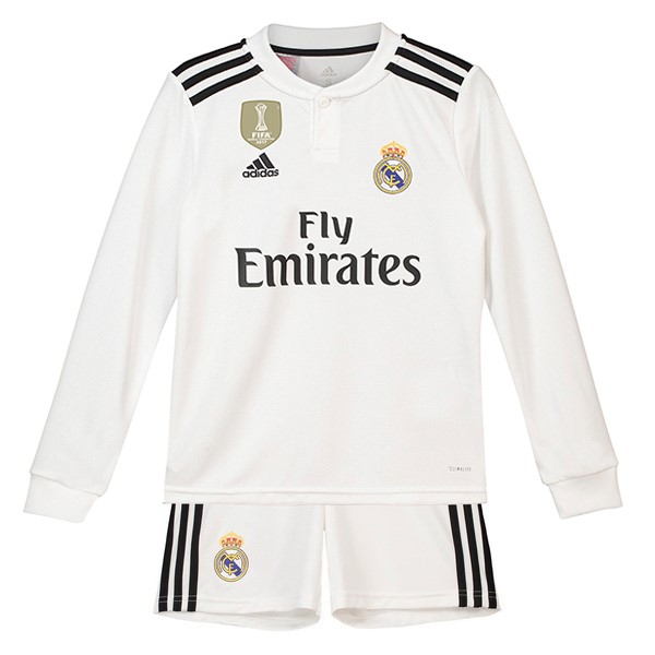 Maillot Foot Pas Cher Real Madrid Domicile ML Enfant 2018/2019 Blanc