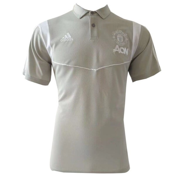 Polo Foot Pas Cher Manchester United 2019/2020 Gris