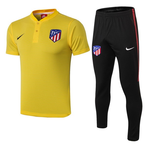 Polo Foot Pas Cher Ensemble Complet Atlético de Madrid 2018/2019 Jaune