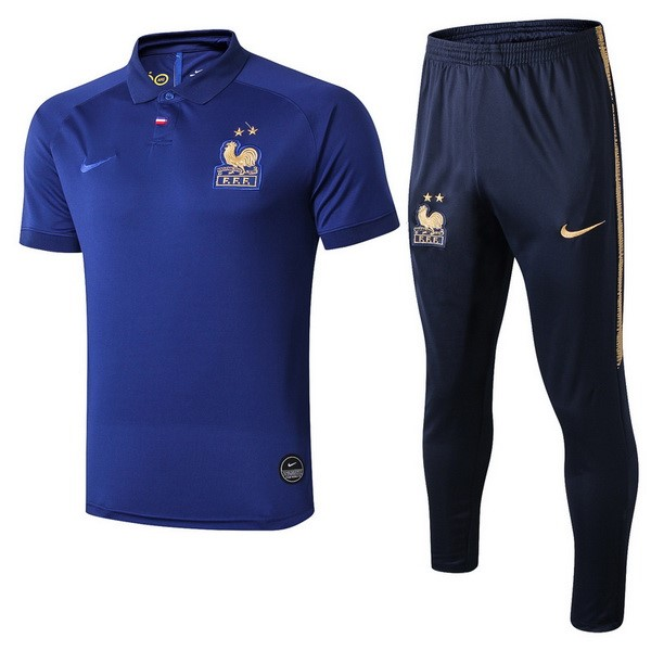 Polo Foot Pas Cher Ensemble Complet France 100th Bleu Or