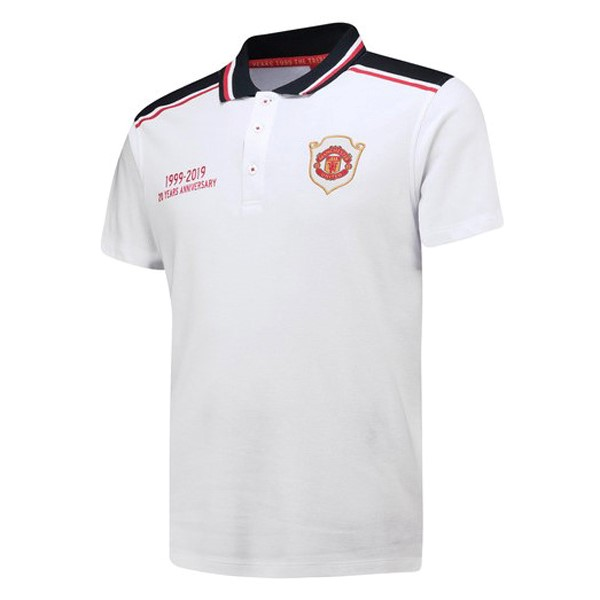 Polo Foot Pas Cher Manchester United 20th Blanc