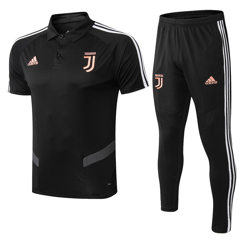 Polo Foot Pas Cher Juventus Ensemble Complet 2019/2020 Noir Orange