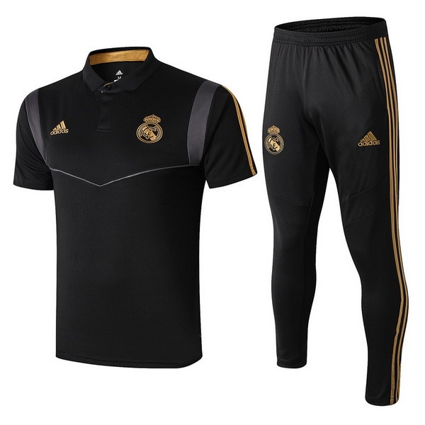 Polo Foot Pas Cher Ensemble Complet Real Madrid 2019/2020 Negro Gris