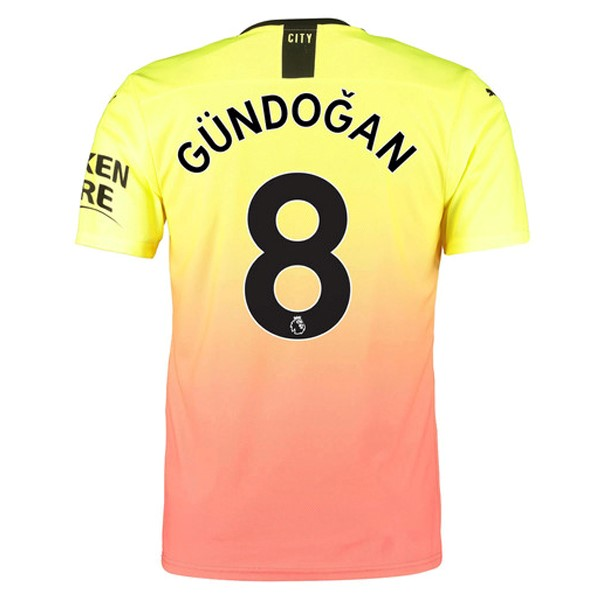 Maillot Foot Pas Cher Manchester City NO.8 Gundogan Third 2019/2020 Orange