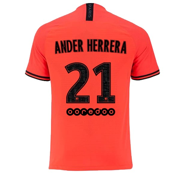 JORDAN Maillot Foot Pas Cher Paris Saint Germain NO.21 Ander Herrera Exterieur 2019/2020 Orange