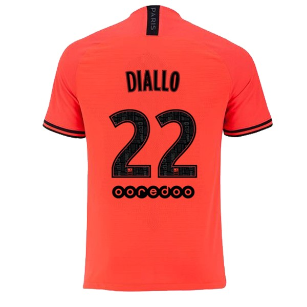 JORDAN Maillot Foot Pas Cher Paris Saint Germain NO.22 Diallo Exterieur 2019/2020 Orange