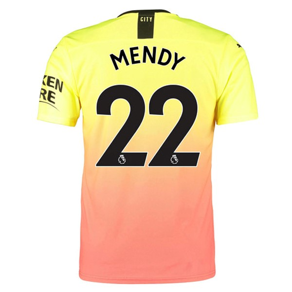 Maillot Foot Pas Cher Manchester City NO.22 Mendy Third 2019/2020 Orange