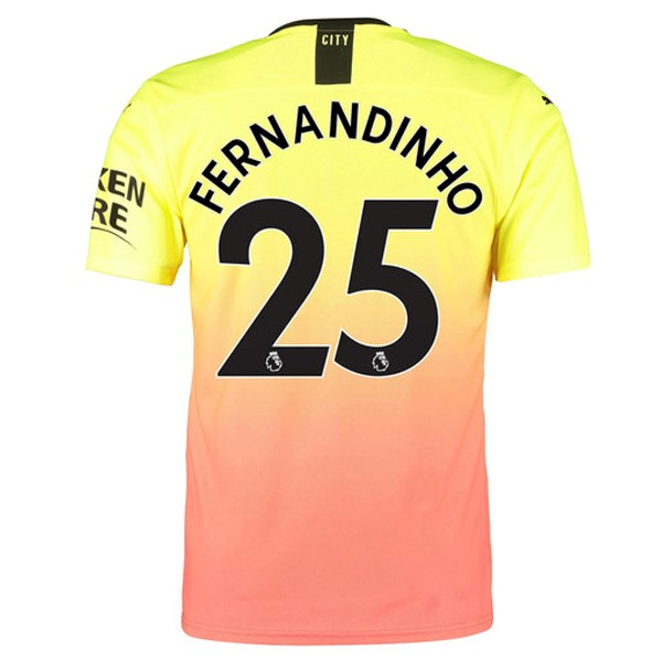 Maillot Foot Pas Cher Manchester City NO.25 Fernandinho Third 2019/2020 Orange