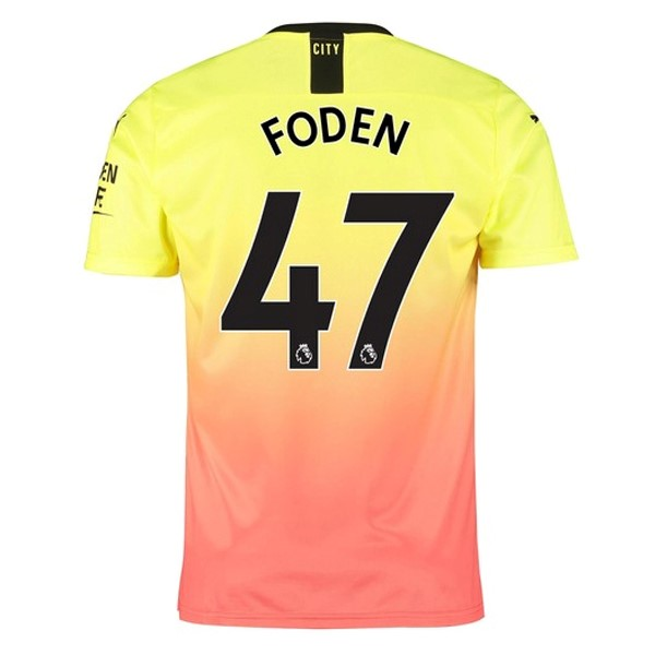 Maillot Foot Pas Cher Manchester City NO.47 Foden Third 2019/2020 Orange
