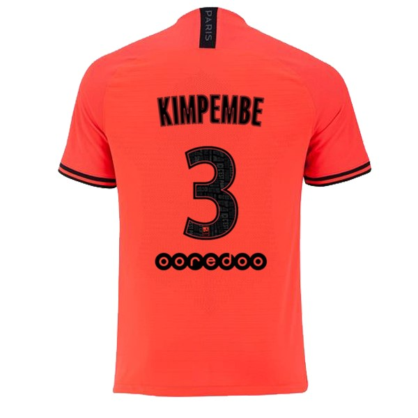 JORDAN Maillot Foot Pas Cher Paris Saint Germain NO.3 Kimpembe Exterieur 2019/2020 Orange