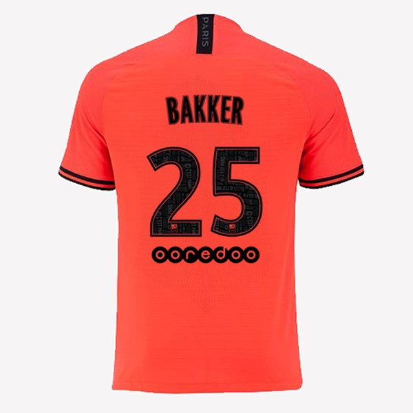 JORDAN Maillot Foot Pas Cher Paris Saint Germain NO.25 Bakker Exterieur 2019/2020 Orange