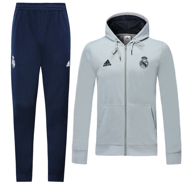 Survetement Foot Pas Cher Real Madrid 2019/2020 Bleu Gris