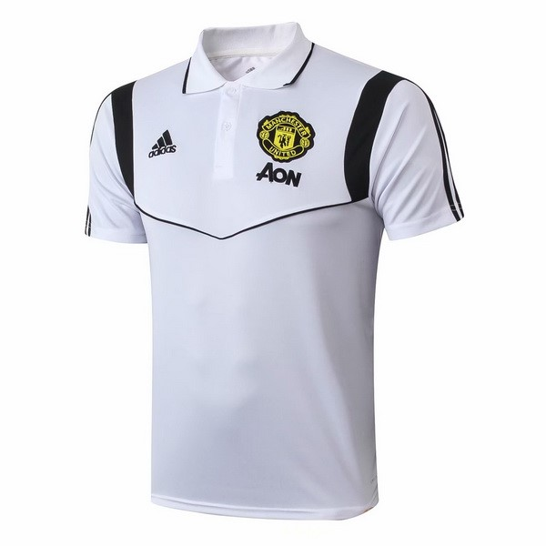 Polo Foot Pas Cher Manchester United 2019/2020 Blanc Noir