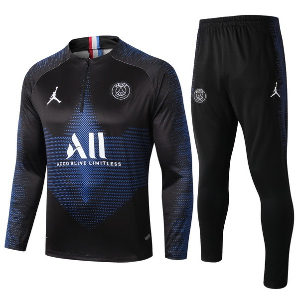 JORDAN Survetement Foot Pas Cher Paris Saint Germain 2019/2020 Noir Bleu Blanc
