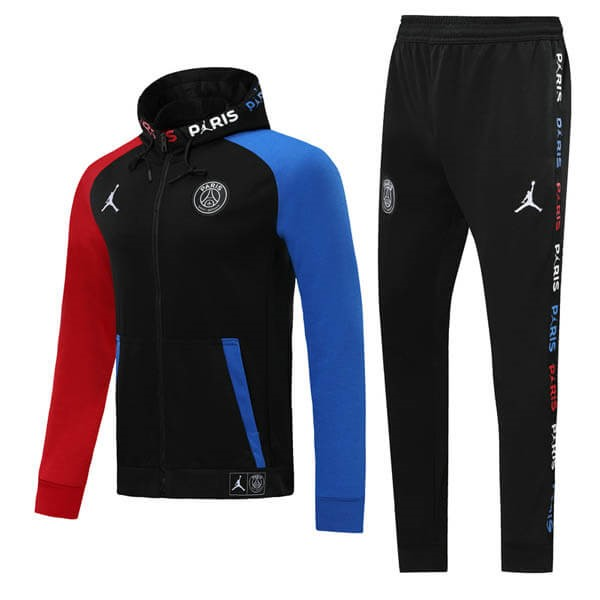JORDAN Survetement Foot Pas Cher Paris Saint Germain 2019/2020 Noir Bleu Rouge
