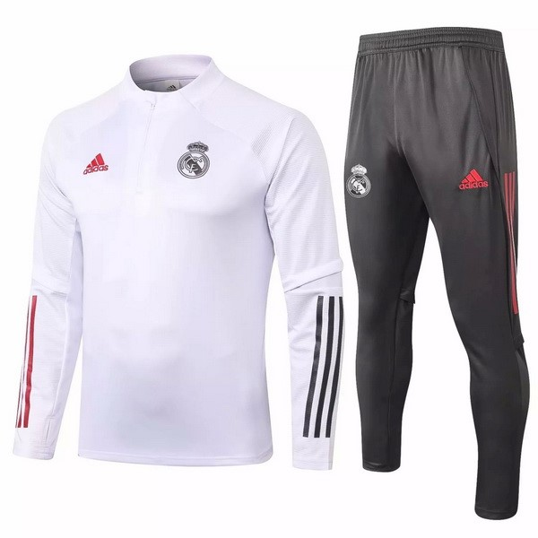 Survetement Foot Pas Cher Real Madrid 2020/2021 Blanc Gris