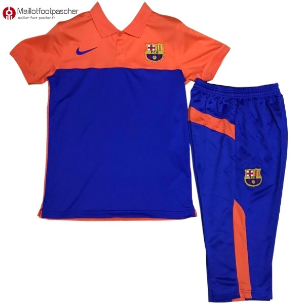 Polo Foot Pas Cher Barcelona Ensemble Complet 2017/2018 Orange Bleu