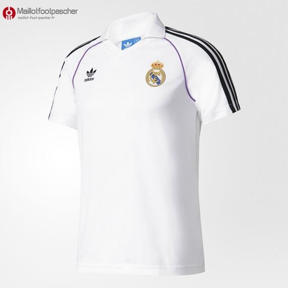 Polo Foot Pas Cher Real Madrid 2017/2018 Blanc Noir
