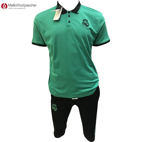 Polo Foot Pas Cher Real Madrid Ensemble Complet 2017/2018 Vert Noir